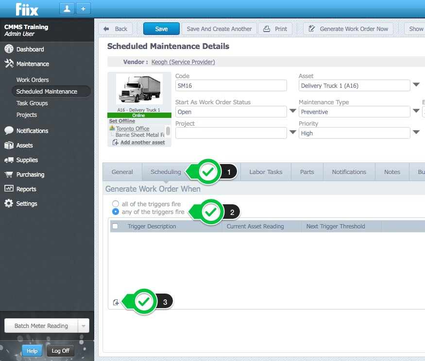 example create a pm schedule for your car help centre